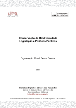 Conservação da Biodiversidade Legislação e Políticas