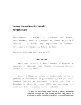 Processo PGT - Ministério Público do Trabalho