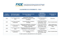 Calendário de atendimento do PNLD