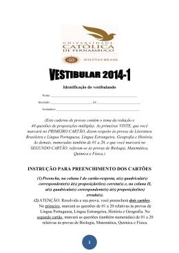 Prova e Gabarito Unicap 2014/1
