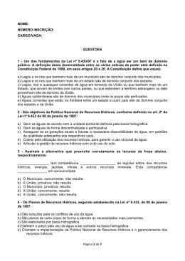 Página 1 de 7 NOME: NÚMERO INSCRIÇÃO: CARGO/VAGA