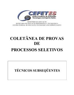 COLETÂNEA DE PROVAS DE PROCESSOS SELETIVOS