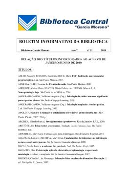 Biblioteca Central Ano VII Nº 01 2010