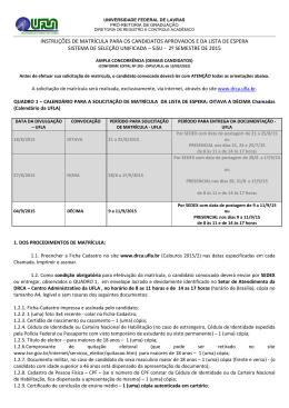INSTRUÇÕES DE MATRÍCULA PARA OS - A DRCA