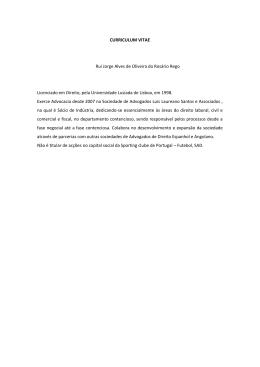 CURRICULUM VITAE Rui Jorge Alves de Oliveira do Rosário Rego