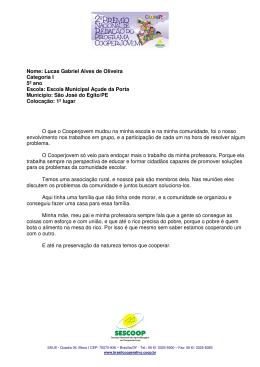 Nome: Lucas Gabriel Alves de Oliveira Categoria I 5º ano