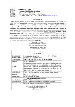 Resumo de Contrato nº 0172/2015 do Pregão Presencial nº 077