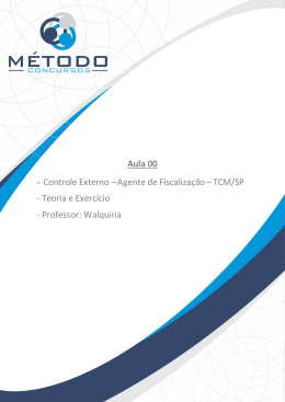 Aula 00 - Controle Externo –Agente de Fiscalização– TCM/SP