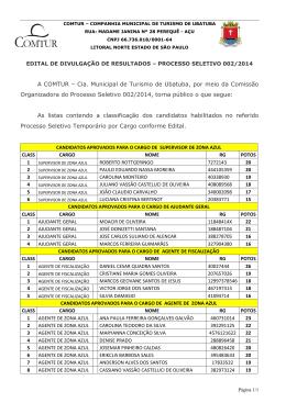 resultado processo seletivo 002-2014