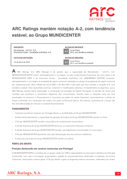 ARC Ratings, SA ARC Ratings mantém notação A