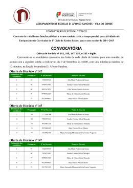 Convocatória dos candidatos para Inglês
