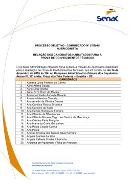 Relação de candidatos habilitados para prova dia 14.12