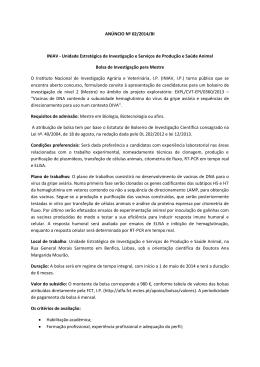 ANÚNCIO Nº 02/2014/BI INIAV - Unidade Estratégica de