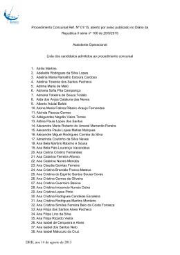 Lista dos candidatos admitidos