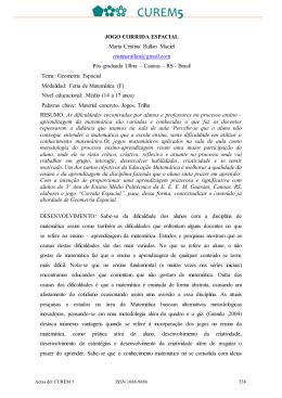 JOGO CORRIDA ESPACIAL Maria Cristina Rullan Maciel
