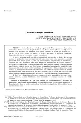 A artrite na reação hansênica - Instituto Lauro de Souza Lima