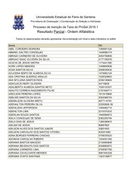 Resultado Parcial - Ordem Alfabética - UEFS