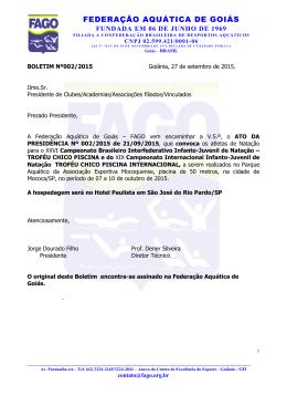 seleção goiana infanto/juvenil - Federação Aquática de Goiás