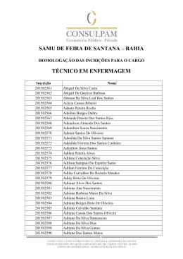 SAMU DE FEIRA DE SANTANA – BAHIA TÉCNICO EM
