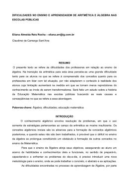 DIFICULDADES NO ENSINO E APRENDIZAGEM DE ARITMÉTICA