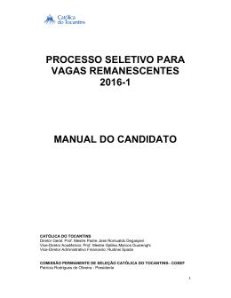 Manual do Candidato - Católica do Tocantins