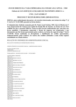 Relação de credores do Administrador Judicial da SATA