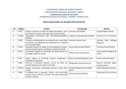 Resultado Geral PROBEX - SELEÇÃO DOS BOLSISTAS