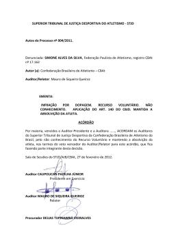 STJD Autos do Processo nº 004/2011. Denunciada