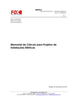 Memorial de Cálculo para Projetos de Instalações Elétricas