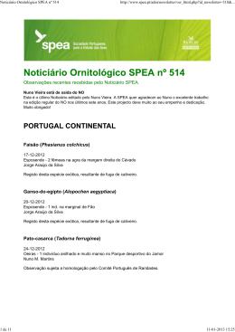 Noticiário Ornitológico SPEA nº 514