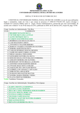 relação dos candidatos classificados e nomeados