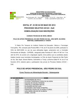 SERVIÇO PÚBLICO FEDERAL - Instituto Federal de Educação