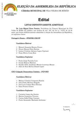 Edital - Câmara Municipal de Vila Velha de Ródão