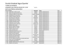 Lista de Candidatos por Escola - Turno Manha.