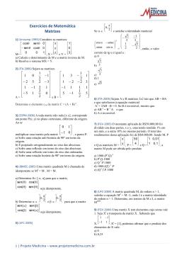Exercícios de Matemática Matrizes