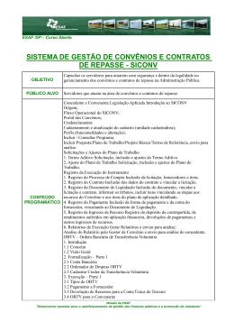 sistema de gestão de convênios e contratos de repasse - siconv