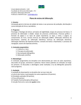 Ementa da disciplina Editoração (2015/2)