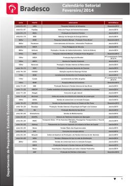 Calendário Setorial Fevereiro/2014