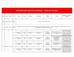 programação circuito acadêmico - terça (27 de maio) - Uni-BH