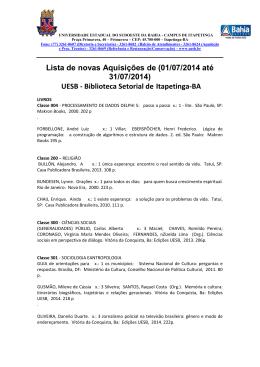 Lista de novas Aquisições de (01/07/2014 até 31/07/2014) UESB