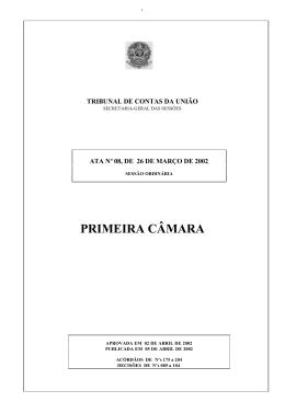 PRIMEIRA CÂMARA - Tribunal de Contas da União