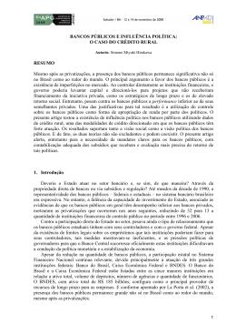 BANCOS PÚBLICOS E INFLUÊNCIA POLÍTICA: O CASO