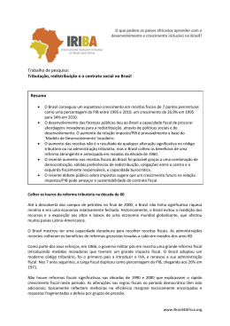 Tributação, redistribuição e o contrato social no Brasil Resumo