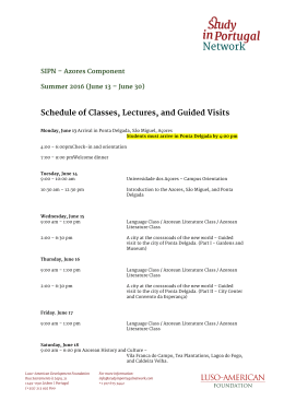 Schedule of Classes, Lectures, and Guided Visits