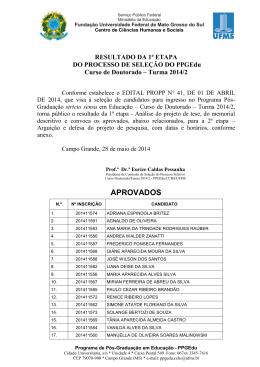 Resultado Etapa 1 Seleção Doutorado 2014-2