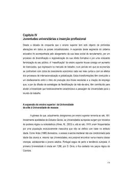 Capítulo IV Juventudes universitárias e inserção profissional