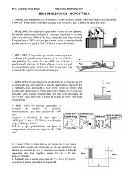 Lista introducao hidrostatica