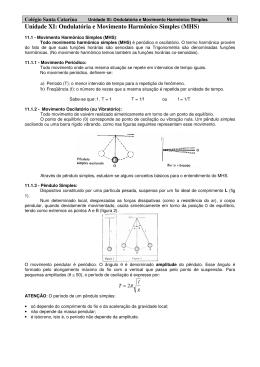 Unidade XI: Ondulatória e Movimento Harmônico Simples (MHS)