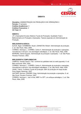 Administração da Produção e de Operações II