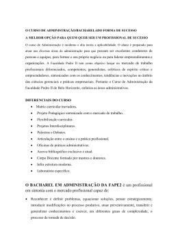 O BACHAREL EM ADMINISTRAÇÃO DA FAPE2